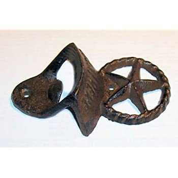 """ABC Products"" - Primitive Heavy Cast Iron - Vintage Style Lone Star Wall Mount Bottle Opener - Wall Hung Primitive Design - (Rustic Bronze Color Finish - Opens Standard Bottle Caps)"