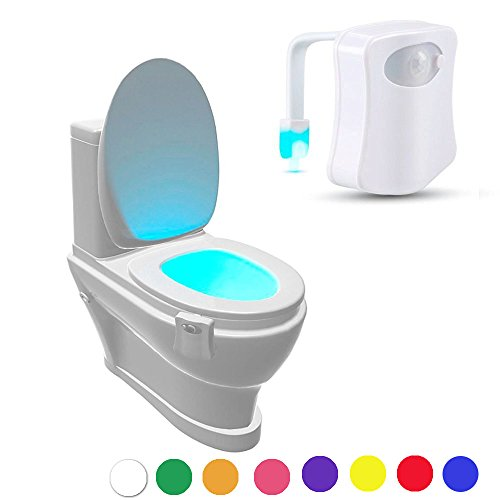 Geekercity LED Motion Sensor Activated Toilet Nightlight - Fits ANY Toilet 8 Colors in One Light - Battery Operated - Energy Saving (Disney Cars Wall Lamp compare prices)
