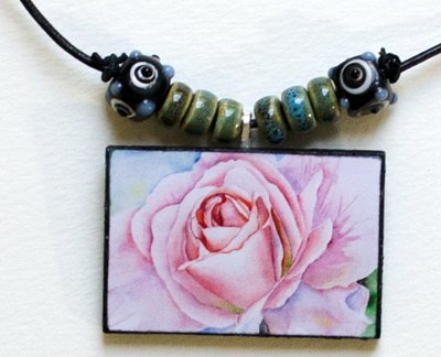 Rose Necklace Pink Flower Art Pendant Jewelry Valentine Gifts for Women