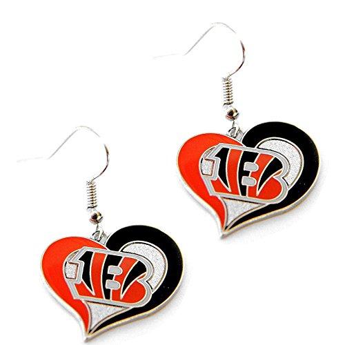 "Nfl Team Earrings Swirl Design (7/8"" Wide, Cincinnati Bengals)"