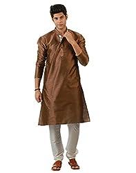 Amora Designer Ethnic Dark Brown Blended Silk Kurta For Men
