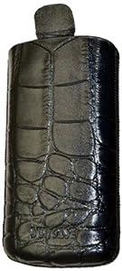 Suncase Ledertasche mit Rückzugsfunktion für das Samsung Galaxy S4 mini i9195 croco schwarz