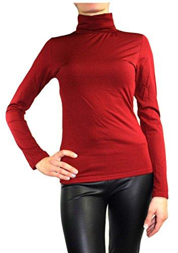 Muse da donna maniche lunghe maglione caldo Stretch Pullover roll colletto thermo Top Dunkel-Rot L