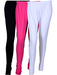 Fashion And Freedom Women's Cotton Leggings Pack Of 3_FFCL_BM1W_BLACK-MAGENTA-WHITE_FREESIZE