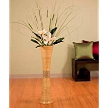 Green Floral Crafts 32 in.Tall Trumpet Bamboo Vase - Natural