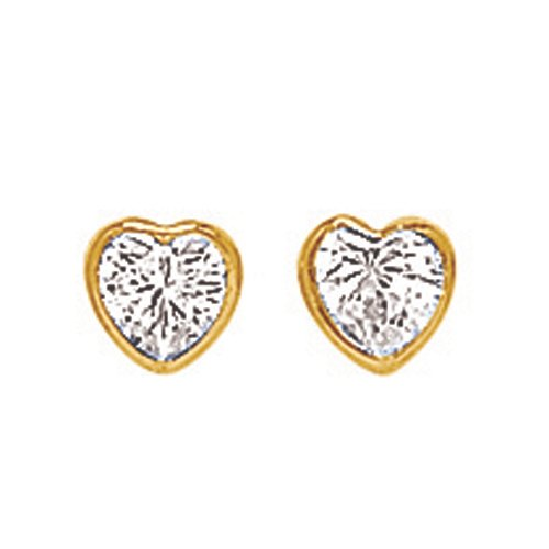 So Chic Jewels - 18k Yellow Gold - Heart Bezel Setting Cubic Zirconia Stud Earrings