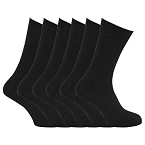 Specialist item: Mens Ribbed Non Elastic Top 100% Cotton Socks (Pack of 6)