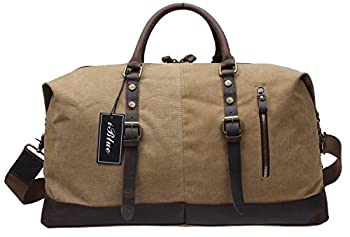 Iblue Unisex 21 Inch Oversized Canvas Leather Travel Duffel Bag Casual Sports Tote Handbag#012031