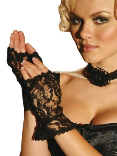 Black Lace Fingerless Costume Gloves - Adult Std.