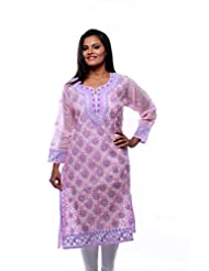 Ada Indian Pakistani Exclusive Lucknow Chikan Womens Ethnic Dress Large Pink Kurti A66650
