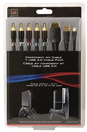 PS3 Component AV Cable + USB 2.0 Cable Pack (Cable Length - 10 ft.)