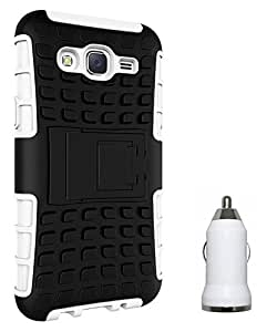 Chevron Tough Hybrid Armor Back Cover Case with Kickstand for Samsung Galaxy J5 with USB Car Charger (White)
