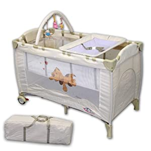 TecTake Baby Travel Cot BEIGE from TecTake