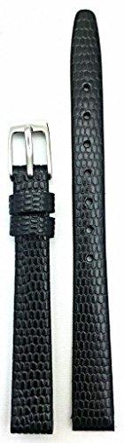 10Mm Black Round Lizard Grain Leather, Flat, Watch Band
