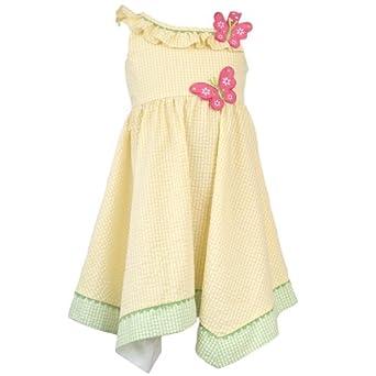 Size-6X RRE-43332S YELLOW PINK BUTTERLFLY APPLIQUE ONE-SHOUDER ASYMMETRIC HEM SEERSUCKER Spring Summer Party Dress,S743332 Rare Editions GIRLS