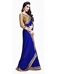 FabTexo JayHo Blue Color Embroidered Georgette Saree available at Amazon for Rs.395