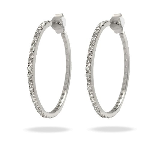 Rafaela Donata Glamour Collection Damen-Creolen 925 Sterling Silber Zirkonia weiß  60832006