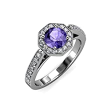buy Iolite And Diamond Halo Engagement Ring With Milgrain Work 0.98 Ct Tw 14K White Gold.Size 6.5