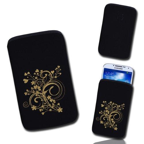 Handy Tasche schwarz/gold E10-2 für Samsung C3312 Rex60 / S5222R Rex80 / Galaxy Young S6310 / Galaxy Young Duos S6312 / Galaxy Pocket Plus S5301 / Samsung Galaxy Pocket Neo S5310 / Alcatel OT 903D / Alcatel OT Star 6010D