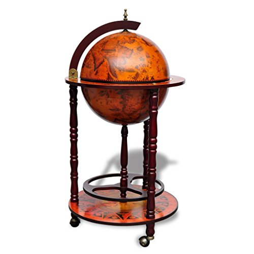 40.2 x 18.5 x 18.5 Elegant Antique Old Nautical Map Paintings Solid Wood Wine Cabinet Trolley Wheels Container 16th Century Liquor World Era Rack Replica Stand Bottle Storage Stemware Globe Wine Bar