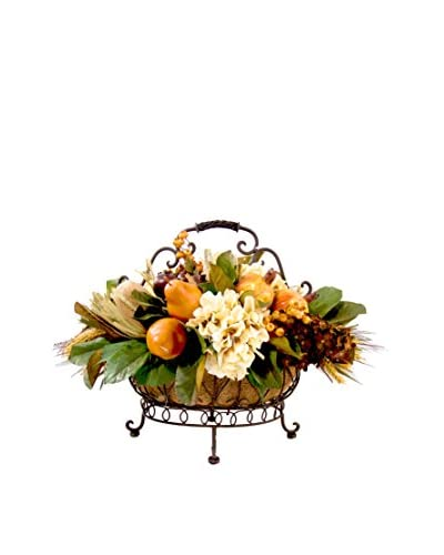 Creative Displays Metal Scroll Basket with Magnolia Leaf & Fruit, Golden Yellow/Crème/Brown