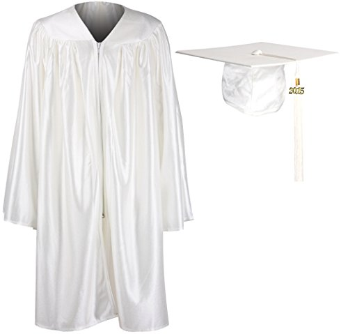 GraduationMall Unisex Kindergarten Graduation Gown Cap Tassel 2015 White X-Large 36(4'3 (Graduation Cap And Gown For Kids compare prices)