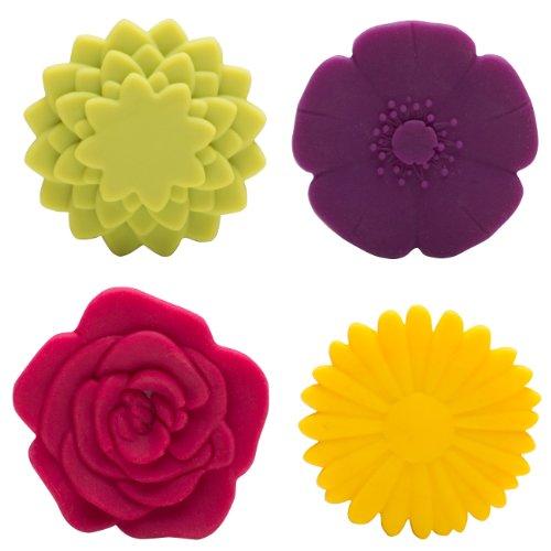 Zak Designs Trivbits Adjustable Trivets, Assorted Flowers