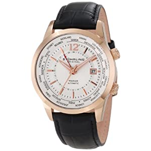 Stuhrling Original Men's 277.33452 Classic Traveler Explorer Automatic World Time Date Rose Tone Watch