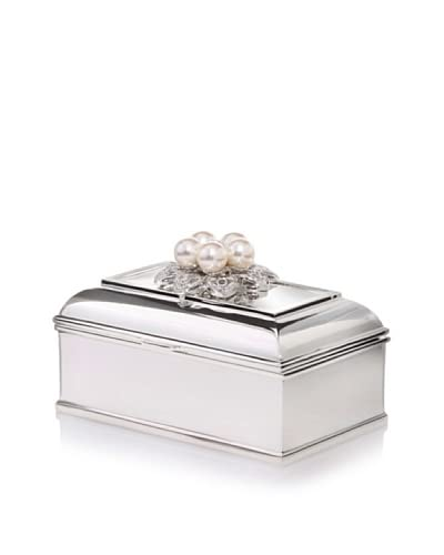Isabella Adams 5-Pearl Flower Keepsake Box with Swarovski Crystals, Silver As You See