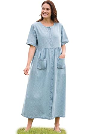 Women's Plus Size Dress with empire waist in denim (BLEACH DOT,12 W)