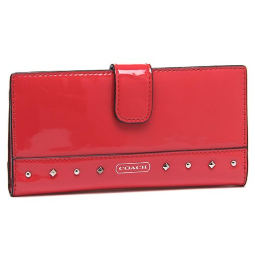 Coach   COACH STUDDED LIQUID GLOSS RED MULTI CASE WALLET F50790 SV/RD