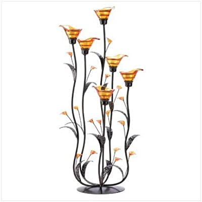 Amber Calla Lilly Candleholder by Online Discount Mart