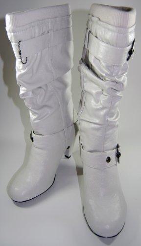 Designer Damen Stiefel Weiß Grau von Jennifer & Jennifer Schuhe Damenstiefel Schuh gefüttert