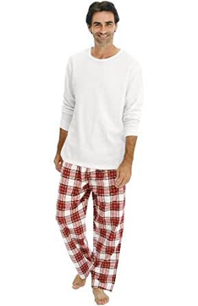 Del Rossa Men's Long Pajama Set - Knit Top with 100% Cotton Flannel Sleep Pants, Medium White and Red Plaid (A0706P21MD)