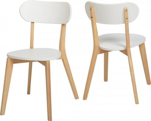 Julian apilamiento silla de comedor conjunto de 2| moderno blanco/natural