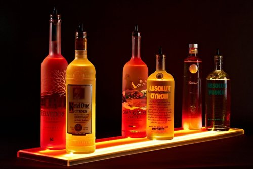 "29"" Double Wide Liquor Shelves Led Lighted Bar Shelves,Led Liquor Bottle Shelf,2Ft 5Inches Long Display29"" 2' 5"""