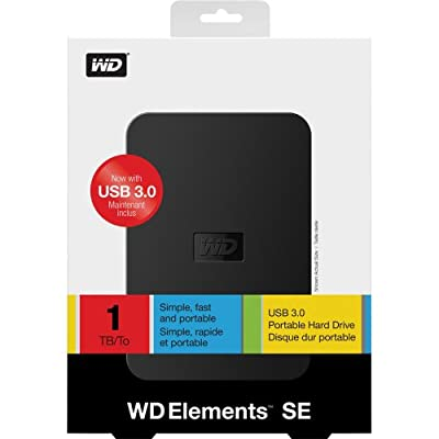WD Elements 1TB 2.5 Inch External Hard Disk USB 3.0 Black