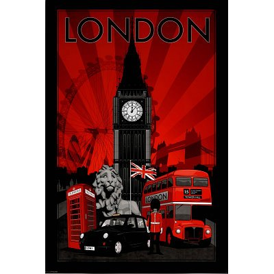 London Landmarks Art Print Poster - 24x36