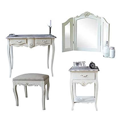 Belfort Range - Furniture Bundle, Dressing Table, Triple Mirror, Stool & Bedside Table