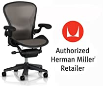 Hot Sale Herman Miller Aeron Chair Highly Adjustable with Adjustable Arms plus C7 Hard Floor Casters - Large Size (C) Graphite Dark Frame, Classic Lead Pellicle Mesh Home Office Desk Task Chair