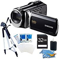 Samsung HMX-F90 HD Digital Video Camcorder (Black) Premium kit with a 32GB card, full size tripod, lcd screen protectors and a lens cleaning kit. from Samsung