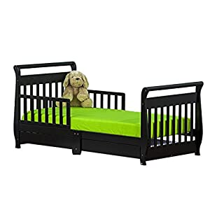 Dream On Me Home Kids room Sleigh Toddler Bed With Storage Drawer Black