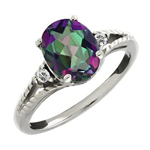 1.65 Ct Oval and Round 3-Stone Silver Mystic Green Topaz and White Topaz Ring