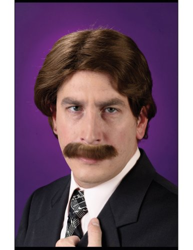 Wig And Mustache Set 70S Costume Accessory