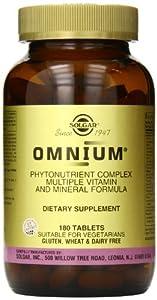 Solgar Omnium Phytonutrient Complex Multiple Vitamin and Mineral Formula Tablets, 180 Count