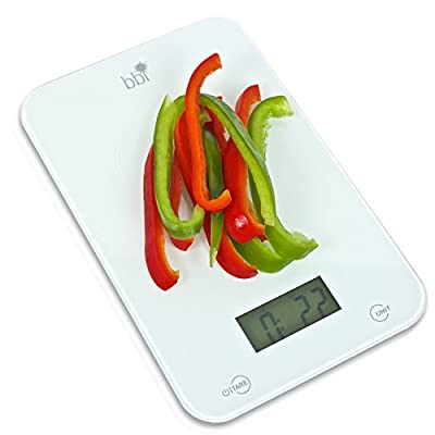 Food Scale-BBI Professional Digital Kitchen Scale-Ultra Slim and Easy To Clean--Accurately Measures Grams, Ounces, & Fluid Ounces--Bonus Measurement Cheat Sheet Included