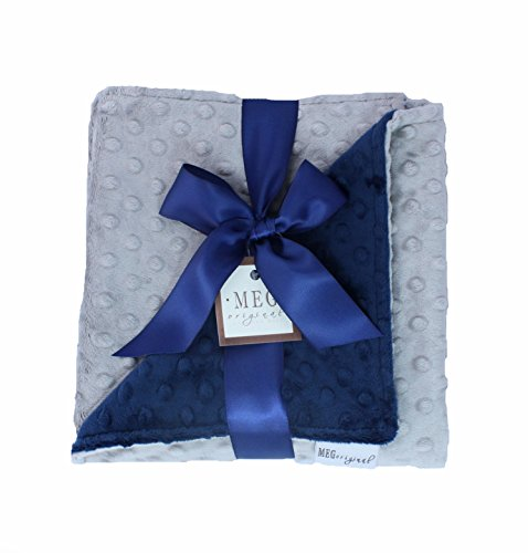 MEG Original Navy Blue & Silver Gray Minky Dot Baby Blanket 601