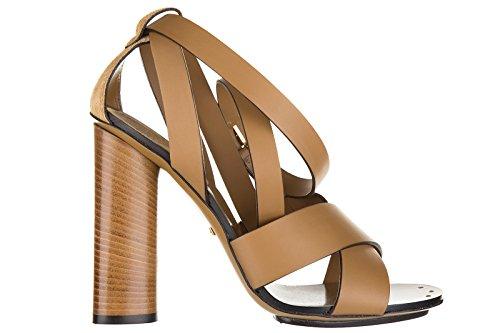 Gucci sandali donna con tacco pelle lifford maori marrone EU 40 381393 AEMT0 2613