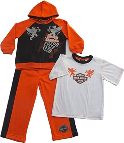 Harley Davidson Boys 3 Pc Warm Up Suit, Sweats, Black & Orange, Size 4,5,6, & 7 (4) front-770381