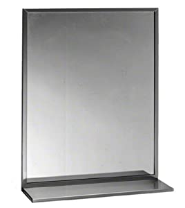 """Bobrick 165 Series 430 Stainless Steel Channel Frame Glass Mirror, Bright Finish, 18"""" Width x 24"""" Height"""